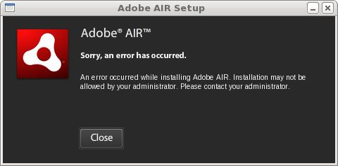 an error occured while installing adobe air